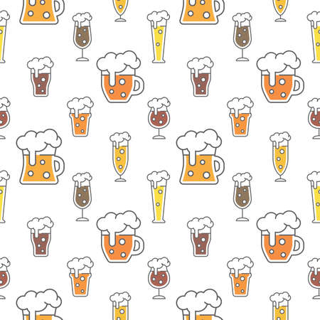 Beer types colorful seamless pattern design. Beer glasses for ale, weizen, pint and mug, cute vector pattern. Archivio Fotografico - 152476911