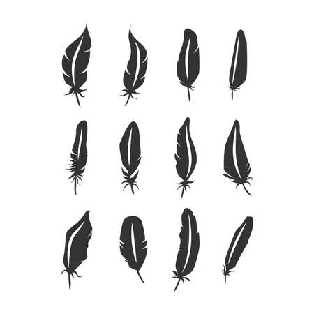 Bird feathers black silhouette icon set. Isolated vector feather collection.