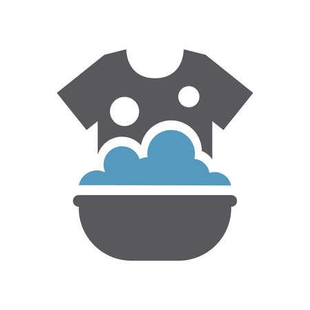 Clothes hand washing in a sink icon. T shirt in soap foam and bubbles in a basin simple vector laundry symbol. 向量圖像