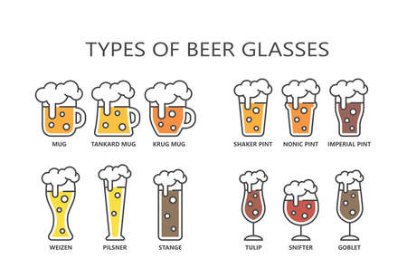 Beer glasses types colorful cartoon with editable stroke and fill. Line mug, pint, glass vector icon set. Ilustrace