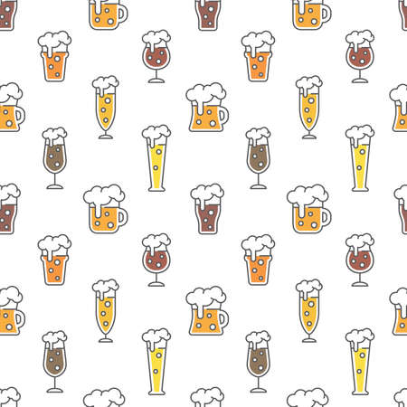 Beer types colorful seamless pattern design. Beer glasses for ale, weizen, pint and mug, cute vector pattern.