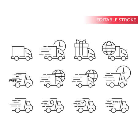 Delivery truck or lorry line vector icon set. Fast delivery, speed marks, clock and international shipping symbols. Outline, editable stroke.