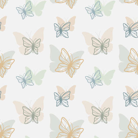 Butterflies seamless pattern design in color. Colorful vector butterfly pattern for print, background, fabric. Ilustração