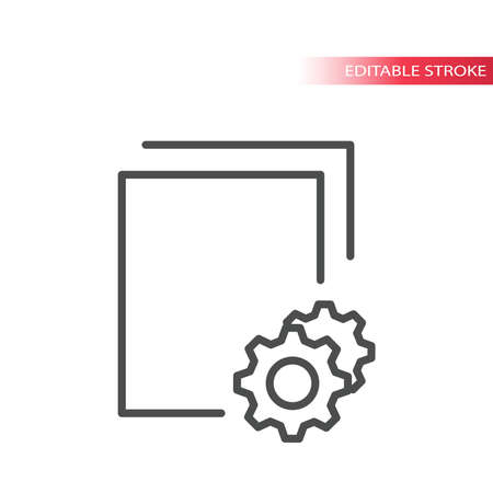 Documents processing thin line vector icon. Paper document with cogwheel or gear symbol, outline, editable stroke. Vettoriali