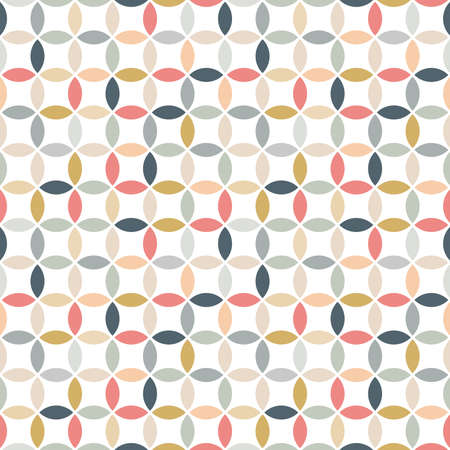 Circle seamless pattern design in color. Colorful vector geometric pattern circles for print, background, fabric.