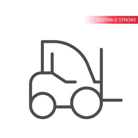 Forklift truck thin line vector icon. Simple vector lift or fork truck, outline, editable stroke.