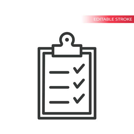 Office clipboard with checklist line vector icon. Tick mark, checklist on a clipboard simple outline symbol, editable stroke.