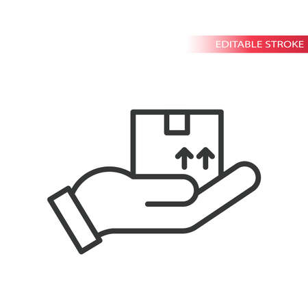 Hand with delivery box thin line vector icon. Delivery parcel with this side up arrows outline symbol, editable stroke.