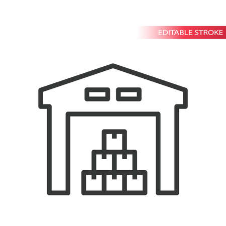 Warehouse with stacked boxes line vector icon. Storage space simple symbol, outline, editable stroke.
