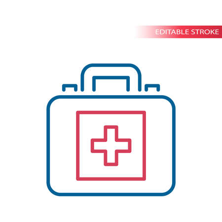 Doctor bag or case thin line vector icon. First aid kit bag with medical cross outline symbol, editable stroke.