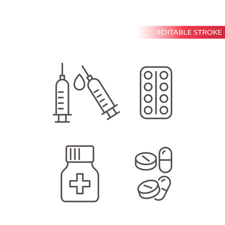 Medical drugs thin line vector icon set. Syringe, pills, tablets and capsules with a bottle outline symbols, editable stroke.