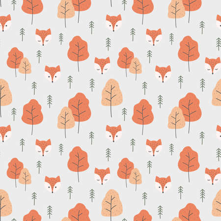 Red fox cartoon and forrest seamless pattern. Autumn pattern design with fox and trees, orange and red color.