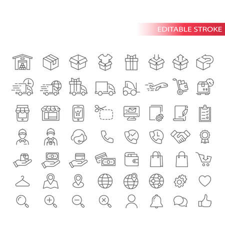 E-commerce thin line vector icon set. Online shopping, e commerce symbols. Store, delivery truck, courier outline icons, editable stroke. Ilustração