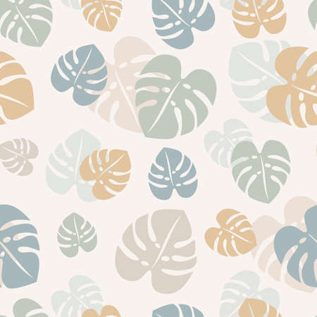 Monstera leaf vector seamless pattern design. Colorful monstera leaves pattern in pastel colors.