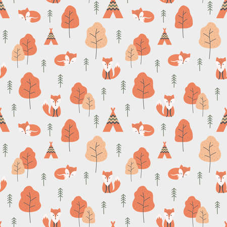 Red fox cartoon and forrest seamless pattern. Autumn pattern design with foxes, tent and trees, orange and red color. Ilustração
