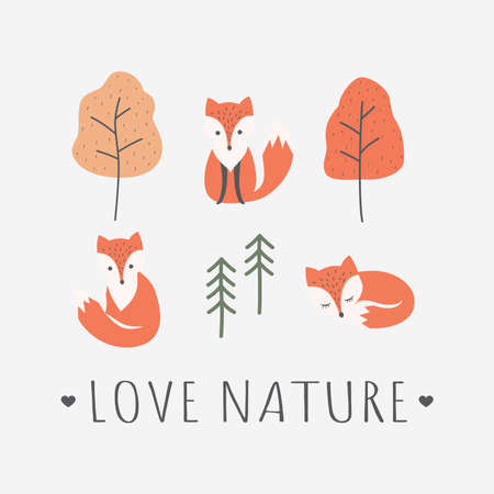 Red foxes with love nature slogan t-shirt design. T-shirt colorful template with cute fox cartoon character, trees and pine, and text lettering, autumn colors.
