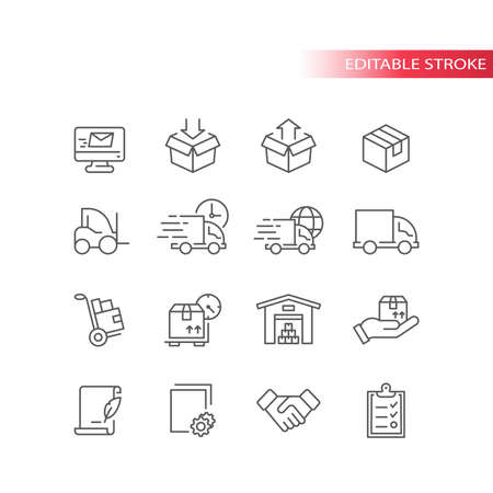 Fulfilment thin line icons. Delivery service icon set. Truck, warehouse, storage and box or parcel package outline symbols, editable stroke.