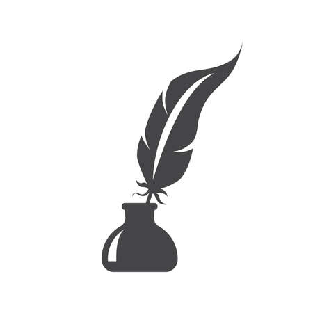 Pen feather in ink bottle black vector icon. Inkstand or ink well with bird feather glyph silhouette symbol.