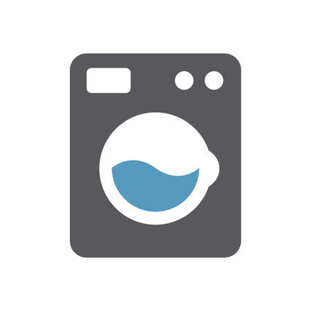 Washing machine simple icon. Black isolated vector symbol.