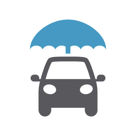 Car with umbrella black vector icon. Car insurance concept symbol.