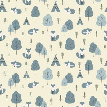 Arctic fox and trees colorful seamless pattern. Vector design for fabric and paper, winter foxes and forrest texture.