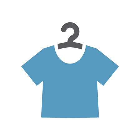 T-shirt on a hanger simple vector icon. Dry cleaning or washing service symbol.