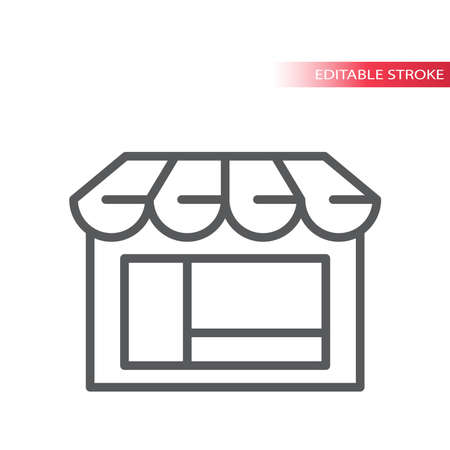 Shop or storefront thin line vector icon. Store, e-commerce symbol, outline, editable stroke. Ilustração