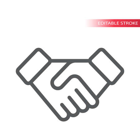 Handshake simple thin line vector icon. Deal or contract concept outline symbol, editable stroke.