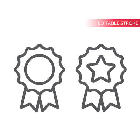 Quality award badge thin line vector icon. Simple badge with a ribbon and a star outline symbol, editable stroke. Ilustração