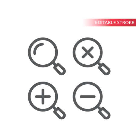 Magnifying glass, zoom thin line vector icon. Magnifier, plus and minus, simple vector symbol, outline, editable stroke.