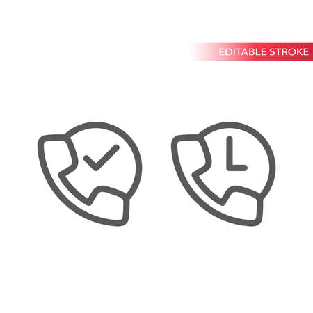 Phone with clock thin line vector icon. Non-stop call service, 24/7 contact symbol, outline, editable stroke.