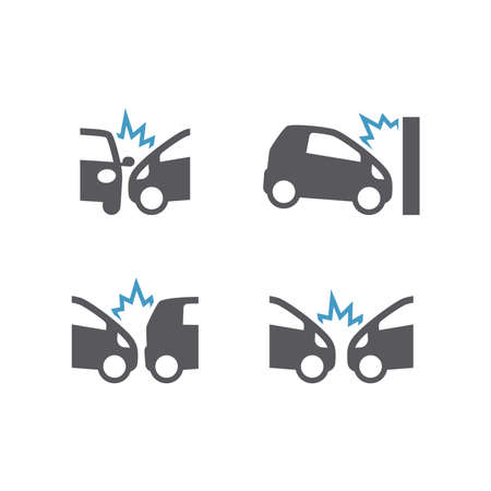 Car crush incident black vector icon set. Car or traffic accident, frontal and side collision
