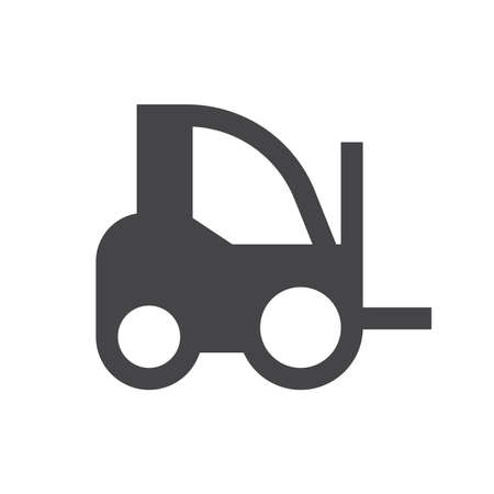 Forklift truck black vector icon. Fork lift, lift truck loader glyph symbol.