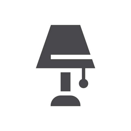 Lamp simple black vector icon. Home interior furniture lamp glyph symbol.
