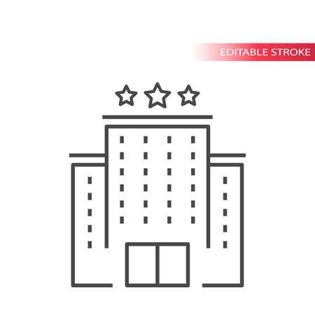 Hotel building thin line vector icon. Outline hotel, editable stroke. Vettoriali