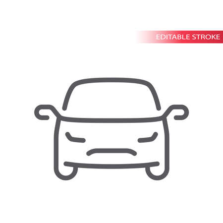 Car thin line vector icon. Outline, editable stroke simple vehicle symbol.