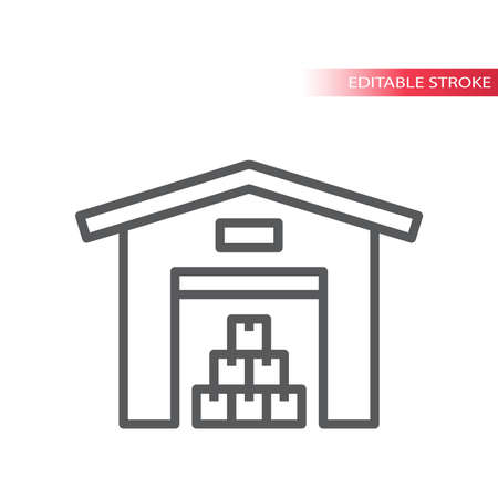 Warehouse with stacked boxes line vector icon. Storage building simple symbol, outline, editable stroke. Ilustração