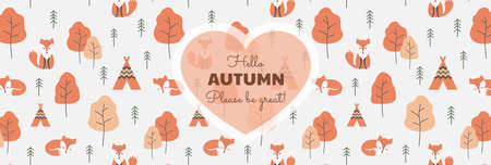 Hello autumn slogan banner, colorful pattern. Text lettering with foxes and trees background, autumn colors vector. Ilustração