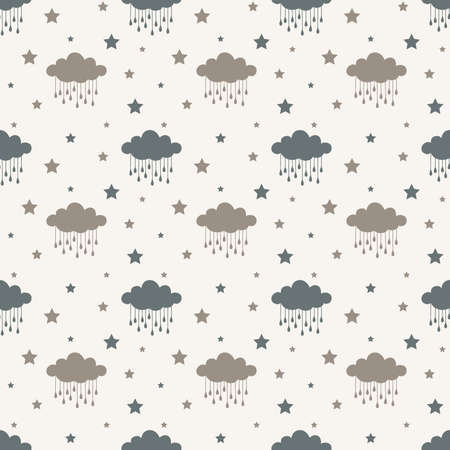 Clouds and rain drops seamless pattern. Vector pattern design for prints, fabric or background.