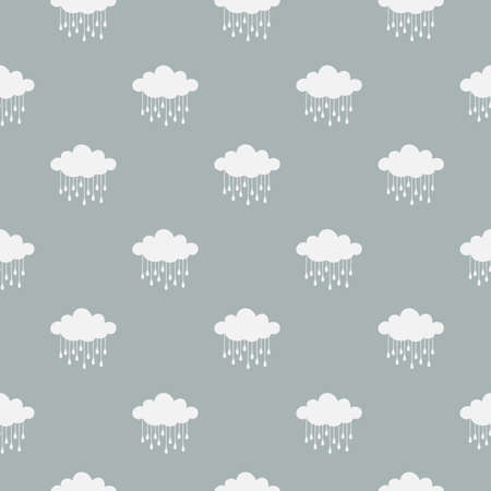 Clouds and rain drops vector seamless pattern. White cloud on blue background pattern for print, fabric or paper. Ilustração