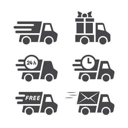 Delivery truck black vector icon set. Truck or lorry, cargo and shipping icons, fast speed marks, gift box and free symbol.
