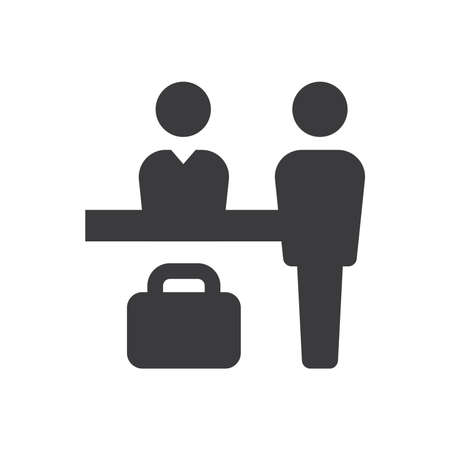 Hotel reception black vector icon. Receptionist desk and suitcase simple glyph symbol. Ilustração