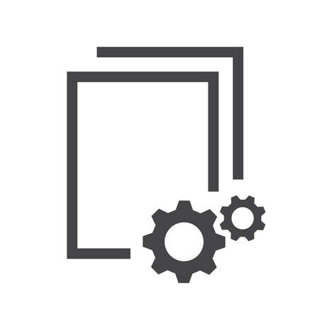 Data processing black vector icon. Documents, blanc paper with cogwheel or gear glyph symbol.