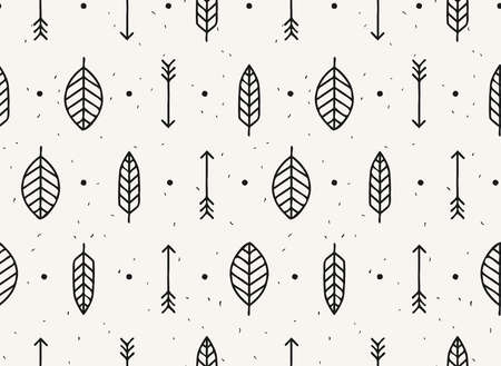 Leaf, arrow and feather vector seamless pattern. Geometric design pattern with leaves, nature style in black and white.