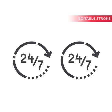 Non stop service thin line vector icon. 24/7 support outline symbol or nonstop, editable stroke.
