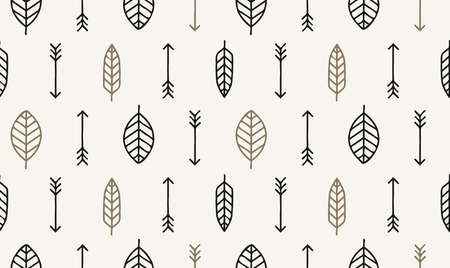 Leaf, arrow and feather vector seamless pattern. Geometric design pattern with leaves, tribal or ethnic style.
