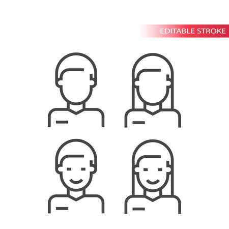 Employee or avatar thin line vector icon. Male and female torso, man and woman profile outline symbols, editable stroke.