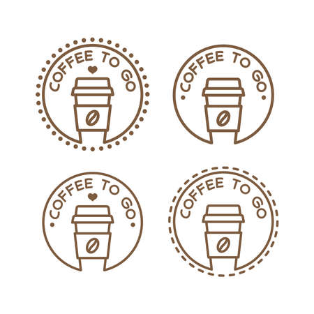 Coffee to go label, vector symbol. Coffee paper cup to go badge .
