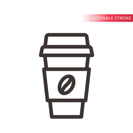 Coffee to go thin line vector icon. Coffee paper cup outline simple symbol with coffee bean, editable stroke.