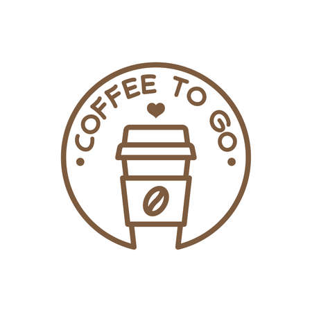 Coffee to go label, vector symbol. Coffee paper cup to go badge.